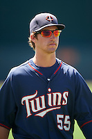 GCL Twins third baseman Aaron Whitefield (55) during warmups before a game against the GCL Orioles on August 11, 2016 at the Ed Smith Stadium in Sarasota, Florida.  GCL Twins defeated GCL Orioles 4-3.  (Mike Janes/Four Seam Images)