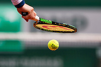 France, Paris , May 26, 2015, Tennis, Roland Garros, Racket and ball<br /> Photo: Tennisimages/Henk Koster