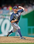 22 July 2012: Atlanta Braves pitcher Jonny Venters on the mound against the Washington Nationals at Nationals Park in Washington, DC. The Braves fell to the Nationals 9-2 splitting their 4-game weekend series. Mandatory Credit: Ed Wolfstein Photo