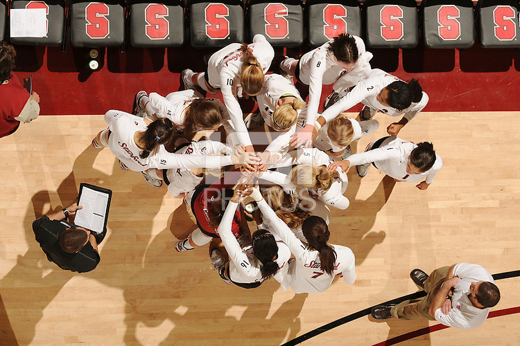 Stanford, CA - OCTOBER 31:  (not in order) Outside hitter Cynthia Barboza #1, middle blocker Janet Okogbaa #2, setter Joanna Evans #3, outside hitter Alex Fisher #5, defensive specialist Katherine Knox #6, middle blocker Jessica Walker #7, outside hitter/setter Cassidy Lichtman #8, libero Gabi Ailes #9, outside hitter Alix Klineman #10, defensive specialist Jessica Fishburn #11, outside hitter Erin Waller #12, defensive specialist Katherine Sebastian #14, middle blocker Stephanie Browne #15, and middle blocker Foluke Akinradewo #16 of the Stanford Cardinal during Stanford's 25-22, 25-23, 25-18 win against the Washington Huskies on October 31, 2008 at Maples Pavilion in Stanford, California.