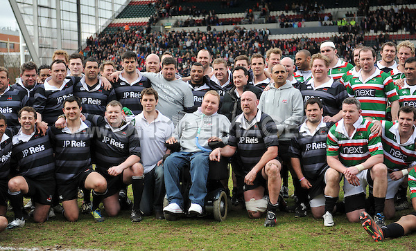The Louis Deacon Tigers Legends and the Matt Hampson International Legends squad line-up with Matt Hampson after the match. Leicester Tigers Legends Match, between Louis Deacon's Tigers Legends and the Matt Hampson's International Legends on April 21, 2013 at Welford Road in Leicester, England. Photo by: Patrick Khachfe / Onside Images