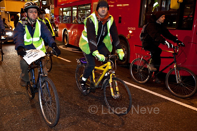 "London, 09/01/2012. Around 200 cyclists gathered outside Kings Cross station to protest against the deficiencies in strategic road safety and equality for cyclists in London.  ""Bikes Alive"", supported by the Times newspaper, has emerged as a new spearhead campaign for bicycle safety issues, decrying the numbers of cyclist deaths in London every year. The direct action took place during rush hour from 18:00 to 19:00 on the streets around the station. At a crossing/junction on the left hand side of the station main exit there is a white bike parked, to remember the cyclist Deep Lee (Min Joo Lee), a 24 year old student killed there while she was riding her bike on the 3rd of October 2011."