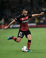 1st January 2020; Bankwest Stadium, Parramatta, New South Wales, Australia; Australian A League football, Western Sydney Wanderers versus Brisbane Roar; Tarek Elrich of Western Sydney Wanderers takes a shot on goal - Editorial Use