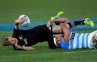Pablo Matera tackles Damien McKenzie during the Rugby Championship match between the New Zealand All Blacks and Argentina Pumas at Trafalgar Park in Nelson, New Zealand on Saturday, 8 September 2018. Photo: Dave Lintott / lintottphoto.co.nz