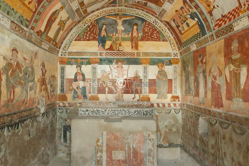 France, Alpes-Maritimes (06), Roubion, la chapelle Saint-Sébastien : les fresques.