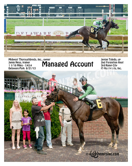 Managed Account winning at Delaware Park on 8/21/13