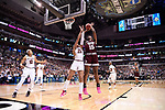 DALLAS, TX - APRIL 2:  Teaira McCowan #15 of the Mississippi State Lady Bulldogs shoots the ball over A'ja Wilson #22 of the South Carolina Gamecocks during the 2017 Women's Final Four at American Airlines Center on April 2, 2017 in Dallas, Texas.  (Photo by Ben Solomon/NCAA Photos via Getty Images)