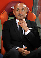 Calcio, Serie A: Roma vs Inter. Roma, stadio Olimpico, 2 ottobre 2016.<br /> Roma&rsquo;s coach Luciano Spalletti waits for the start of the Italian Serie A football match between Roma and FC Inter at Rome's Olympic stadium, 2 October 2016.<br /> UPDATE IMAGES PRESS/Isabella Bonotto