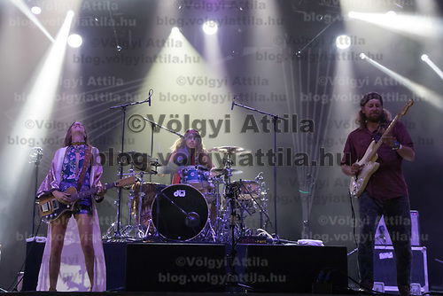 Vocalist Cato van Dijck (L), her brother drummer Joost van Dijck (C) and guitarist Daniel 'Dafreez' Johnston (R) perform with their Dutch-New Zealand band My Baby at their concert on the A38 Stage at Sziget Festival held in Budapest, Hungary on Aug. 13, 2018. ATTILA VOLGYI