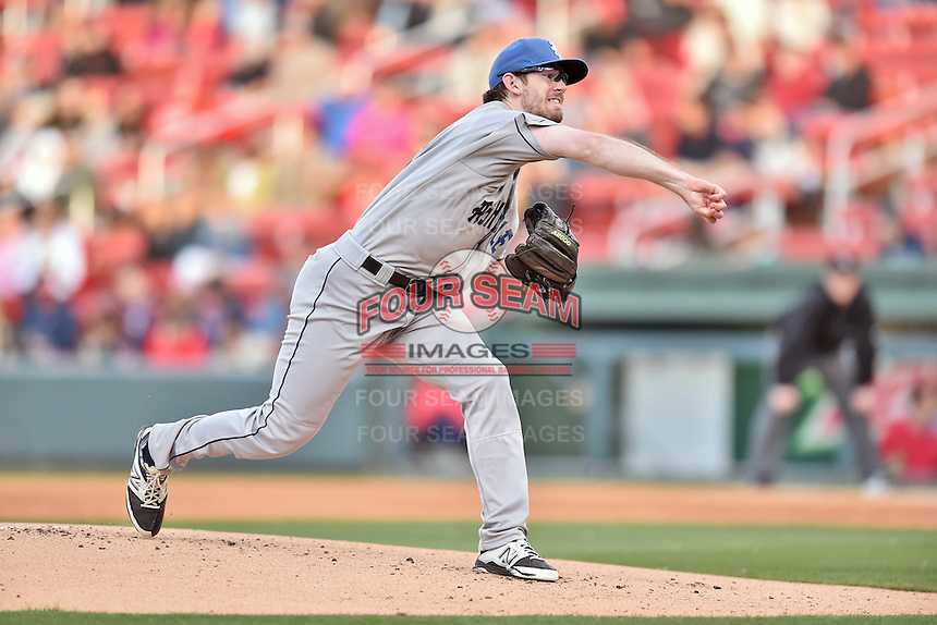 Asheville Tourists starting pitcher David Hill (34) delivers a pitch during a game against the Greenville Drive at Fluor Field on April 7, 2016 in Greenville South Carolina. The Drive defeated the Tourists 4-3. (Tony Farlow/Four Seam Images)