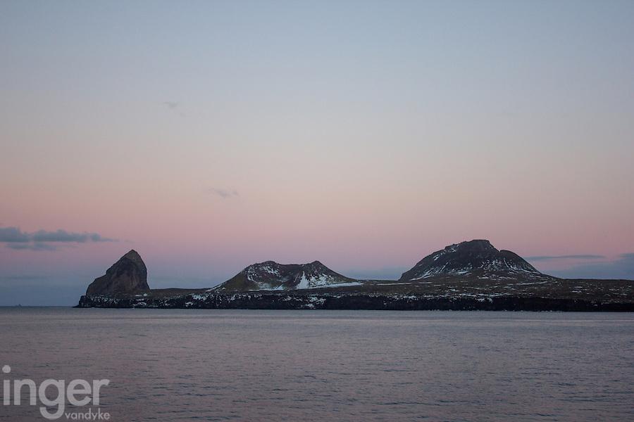Heard Island coastline at Sunset, Antarctica