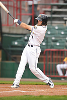 Burlington Bees left fielder Brandon Marsh (6) swings at pitch against the Dayton Dragons at Community Field on May 2, 2018 in Burlington, Iowa.  (Dennis Hubbard/Four Seam Images)
