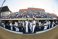 The Wake Forest Demon Deacons prepare for their game against the West Virginia Mountaineers in Game Four of the Winston-Salem Regional in the 2017 College World Series at David F. Couch Ballpark on June 3, 2017 in Winston-Salem, North Carolina.  The Demon Deacons walked-off the Mountaineers 4-3.  (Brian Westerholt/Four Seam Images)