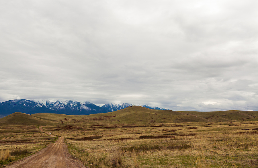 A white truck drives down a windy dirty road in the National Bison Range in Western Montana.