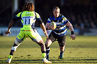 Jack Wilson of Bath Rugby in possession. Aviva Premiership match, between Bath Rugby and Sale Sharks on February 24, 2018 at the Recreation Ground in Bath, England. Photo by: Patrick Khachfe / Onside Images