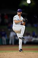 Jacksonville Jumbo Shrimp relief pitcher Jeff Kinley (28) during a Southern League game against the Mobile BayBears on May 28, 2019 at Baseball Grounds of Jacksonville in Jacksonville, Florida.  Mobile defeated Jacksonville 2-1.  (Mike Janes/Four Seam Images)