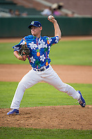 Wes Helsabeck (34) of the Ogden Raptors delivers a pitch to the plate against the Grand Junction Rockies in Pioneer League action at Lindquist Field on July 5, 2015 in Ogden, Utah. Ogden defeated Grand Junction 12-2.  (Stephen Smith/Four Seam Images)