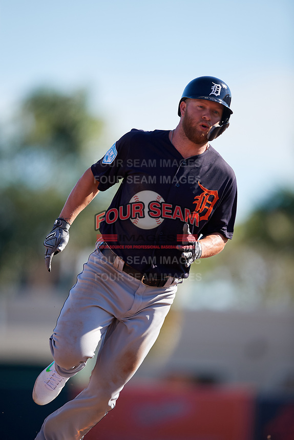 Detroit Tigers right fielder Dustin Peterson (13) runs the bases during a Grapefruit League Spring Training game against the Baltimore Orioles on March 3, 2019 at Ed Smith Stadium in Sarasota, Florida.  Baltimore defeated Detroit 7-5.  (Mike Janes/Four Seam Images)