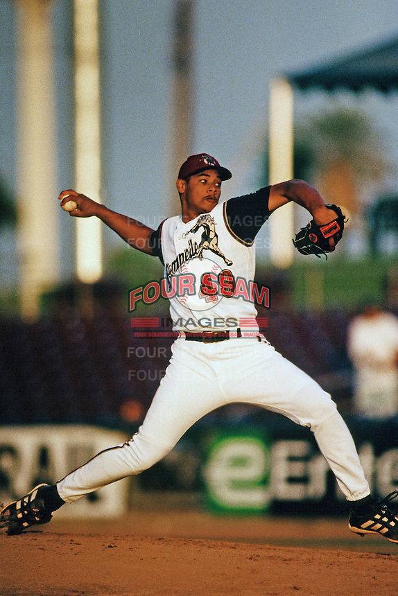 Marcos Castillo of the San Bernardino Stampede during a California League baseball game at The Ranch circa 1999 in San Bernardino,CA. (Larry Goren/Four Seam Images)