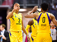 Washington, DC - June 15, 2018: Los Angeles Sparks forward Candace Parker (3) and Los Angeles Sparks guard Alana Beard (0) celebrate a potential three point play during game between the Washington Mystics and Los Angeles Sparks at the Capital One Arena in Washington, DC. (Photo by Phil Peters/Media Images International)