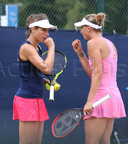 June 16th 2017, Nottingham, England;WTA Aegon Nottingham Open Tennis Tournament day 5;  Tactics talk from Konta and Wickmayer who beat Chan and Dellacqua in the women's doubles semi final