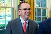Acting White House Chief of Staff Mick Mulvaney stands in the Oval Office during the meeting of US President Donald J. Trump and Prime Minister of Bulgaria Boyko Borisov, at the White House in Washington, DC, USA, 25 November 2019. Trump hosts Borisov to discuss security among the NATO allies and stability in the Black Sea region.<br /> Credit: Michael Reynolds / Pool via CNP
