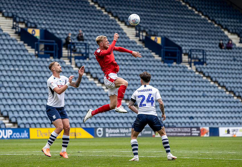Nottingham Forest's Joe Worrall (centre) heads clear<br /> <br /> Photographer Andrew Kearns/CameraSport<br /> <br /> The EFL Sky Bet Championship - Preston North End v Nottingham Forest - Saturday 11th July 2020 - Deepdale Stadium - Preston <br /> <br /> World Copyright © 2020 CameraSport. All rights reserved. 43 Linden Ave. Countesthorpe. Leicester. England. LE8 5PG - Tel: +44 (0) 116 277 4147 - admin@camerasport.com - www.camerasport.com