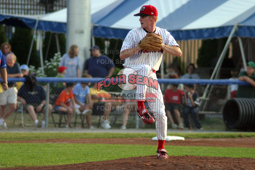 July 4, 2003:  pitcher Joe Diefenderfer of the Batavia Muckdogs during a game at Dwyer Stadium in Batavia, New York.  Photo by:  Mike Janes/Four Seam Images