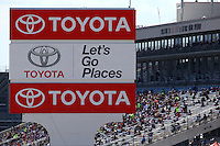 Mar 30, 2014; Las Vegas, NV, USA; NHRA Toyota signage during the Summitracing.com Nationals at The Strip at Las Vegas Motor Speedway. Mandatory Credit: Mark J. Rebilas-