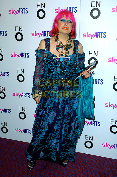 "ZANDRA RHODES .The ""Aida"" press night, London Coliseum Theatre, London, England..November 8th, 2007.full length blue top blue sheer pattern print pink hair necklaces .CAP/CAN.©Can Nguyen/Capital Pictures"