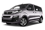 Stock pictures of low aggressive front three quarter view of 2017 Peugeot Traveller Allure 4 Door Passenger Van Low Aggressive