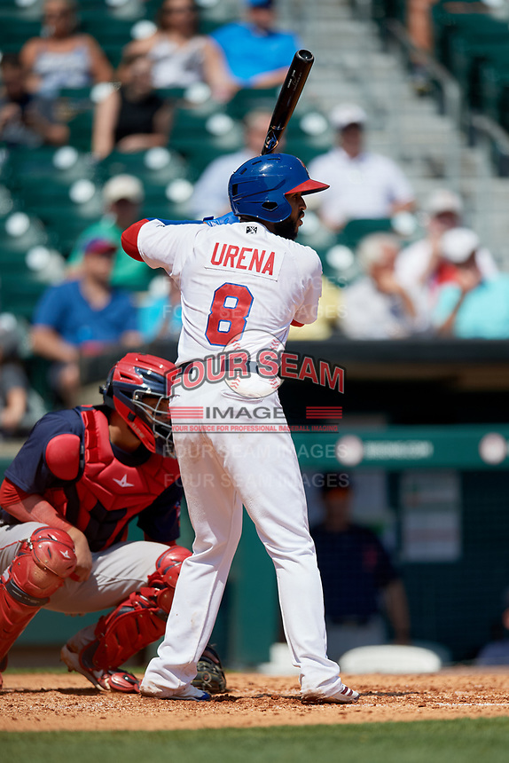 Buffalo Bisons second baseman Richard Urena (8) at bat in front of catcher Oscar Hernandez (7) during a game against the Pawtucket Red Sox on June 28, 2018 at Coca-Cola Field in Buffalo, New York.  Buffalo defeated Pawtucket 8-1.  (Mike Janes/Four Seam Images)