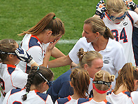 The University of Virginia women's lacrosse head coach Julie Meyers, right, consoles player Brittany Kalkstein who becomes emotional before the start of their first game since the death of teamate Yeardley Love Sunday May 16, 2010 at Klockner Stadium in Charlottesville, Va. The Cavaliers rallied in the last four minutes to beat Towson 14-12 and reach the quarter finals of the NCAA tournament. Love's body was found May 3, and Virginia men's lacrosse player George Huguely is charged with murder. Photo/Andrew Shurtleff...