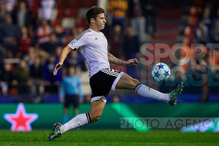 Santi Mina of Valencia CF controls the ball - UEFA Champions League Group H - Valencia CF vs Olympique Lyonnais - Mestalla Stadium - Valencia- Spain - 09th December 2015 - Pic David Aliaga/Sportimage