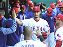 Yu Darvish (Rangers),<br /> APRIL 23, 2017 - MLB :<br /> Texas Rangers starting pitcher Yu Darvish high-fives teammates in the dugout after the top of the eighth inning during the Major League Baseball game against the Kansas City Royals at Globe Life Park in Arlington in Arlington, Texas, United States. (Photo by AFLO)