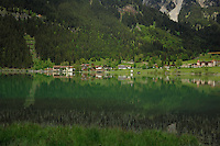 Lakeside properties, Lake Haldensee, Nesslewangle, Reutte district. Austria.The Alps
