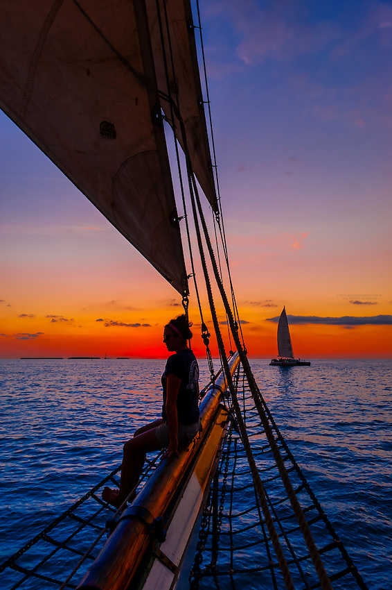 Aboard the Schooner Western Union for a sunset cruise off Key West, Florida Keys, Florida USA