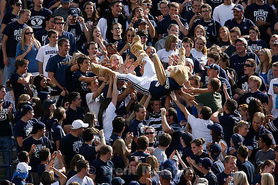 Provo - BYU vs. Wyoming college football, Saturday, September 20, 2008, at BYU's Edwards Stadium. cosmo crowd-surfs fans