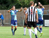 Luke O'Nien of Wycombe Wanderers (17) celebrates with Garry Thompson of Wycombe Wanderers  after scoring to make it 1-2 during the Friendly match between Maidenhead United and Wycombe Wanderers at York Road, Maidenhead, England on 30 July 2016. Photo by Alan  Stanford PRiME Media Images.