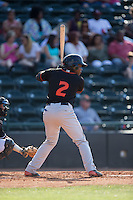 Ademar Rifaela (2) of the Delmarva Shorebirds at bat against the Hickory Crawdads at L.P. Frans Stadium on June 18, 2016 in Hickory, North Carolina.  The Crawdads defeated the Shorebirds 1-0 in game one of a double-header.  (Brian Westerholt/Four Seam Images)