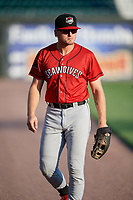 Erie SeaWolves Cam Gibson (12) before a game against the Harrisburg Senators on August 29, 2018 at FNB Field in Harrisburg, Pennsylvania.  Harrisburg defeated Erie 5-4.  (Mike Janes/Four Seam Images)