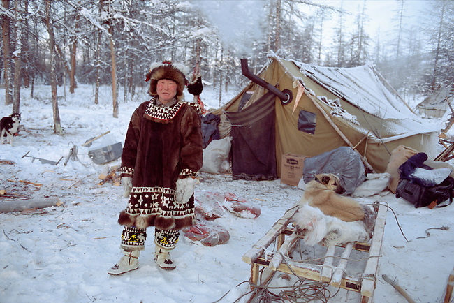 Roman Elrika, an Even reindeer herder at a winter camp in Northern Evensk. Magadan Region, Eastern Siberia, Russia.