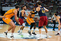 Herbalife Gran Canaria's players Darko Planinic and Royce O'Neale and FC Barcelona Lassa player Stratos Perperoglou and Ante Tomic during the final of Supercopa of Liga Endesa Madrid. September 24, Spain. 2016. (ALTERPHOTOS/BorjaB.Hojas) NORTEPHOTO.COM