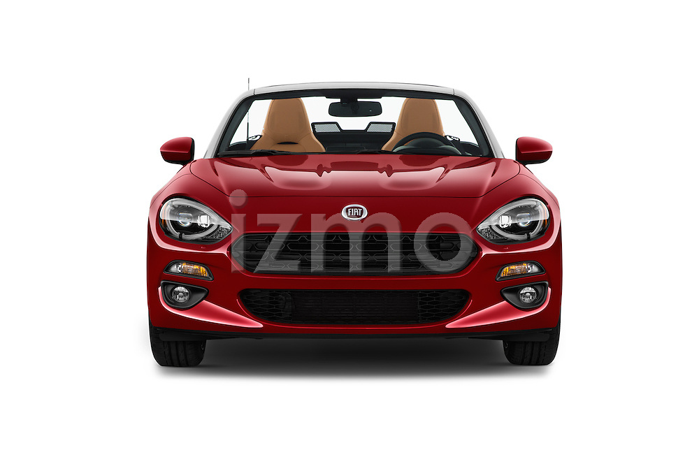 Car photography straight front view of a 2017 Fiat 124-Spider 1.4-Lusso 2 Door Convertible Front View