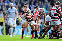 Ben Youngs of Leicester Tigers passes the ball. Aviva Premiership match, between Leicester Tigers and Bath Rugby on September 25, 2016 at Welford Road in Leicester, England. Photo by: Patrick Khachfe / Onside Images