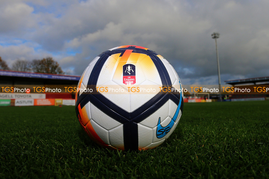 The official FA Cup ball during Stevenage vs Nantwich Town, Emirates FA Cup Football at the Lamex Stadium on 4th November 2017