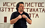 The Rev. Daniel Topalski, the superintendent for Bulgaria of the United Methodist Church, preaches during a worship service in the largely Roma neighborhood of Gorno Ezerovo, part of the Bulgarian city of Burgas. Residents here don't self-identify much as Roma, however, because of the negative connotations associated with the word, so many refer to themselves as a Turkish-speaking minority.