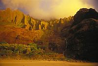 Golden sunset on Kalalau Valley , Kauai's Na Pali coastline