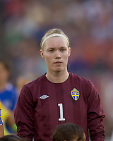 Sweden goalkeeper Hedvig Lindahl (1). The US Women's national team beat Sweden, 3-0, at Rentschler Field on July 17, 2010.