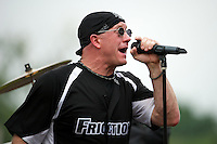 Cover band Friction lead singer Mike Dermont performs before a Kane County Cougars game against the Burlington Bees at Fifth Third Bank Ballpark on June 28, 2012 in Geneva, Illinois.  Kane County defeated Burlington 6-5.  (Mike Janes/Four Seam Images)